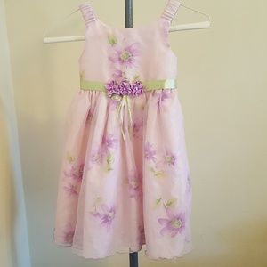 Other - EUC Little Girls Floral Mesh Pleated Formal Dress